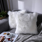 Foindtower Mongolian Plush Faux Fur Square Decorative Throw Pillow Cover Cushion Case New Luxury Series Merino Style for Livingroom Couch Sofa Nursery Bed Home Decor 18x18 Inch (45x45cm) Off White