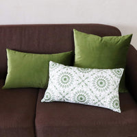 SLOW COW Velvet Solid Decorative Lumbar Throw Pillow Cover Rectangle Cushion Cover Pillow Case 12 x 20 Inches Green