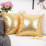 "YOUR SMILE Pack of 2 New Luxury Series Gold Blink Decorative Glitzy Sequin & Comfy Satin Solid Throw Pillow Cover Cushion Case for Wedding/Christmas,18"" x 18"""