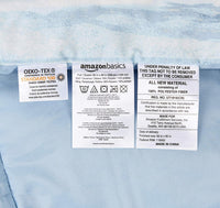 AmazonBasics 6-Piece Comforter Bedding Set, Twin / Twin XL, Blue Watercolor, Microfiber, Ultra-Soft