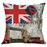 "18"" Tower horologe Print Cotton Linen Pillow Cases Cushion Cover Home Decor"