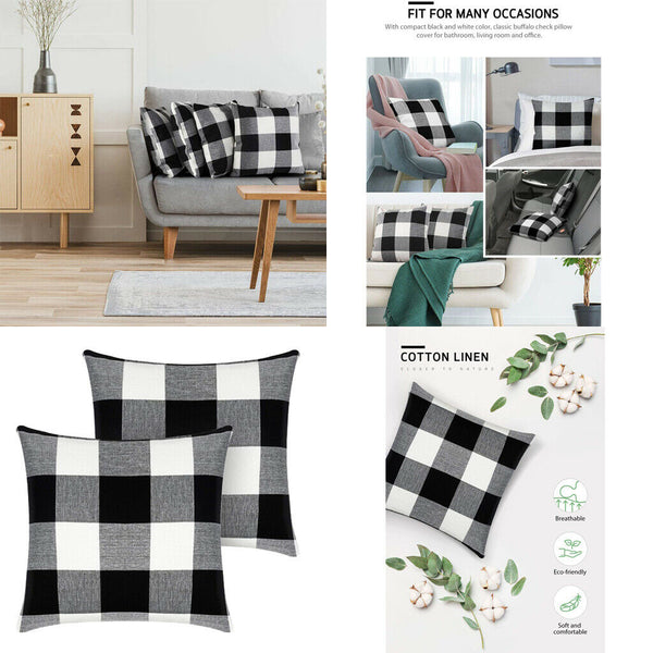 1 Pair Grid Cotton Linen Square Sofa Couch Throw Pillow Cases Covers 45x45cm