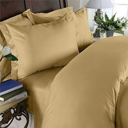 1000 Thread Count 100% Egyptian Cotton Bed Sheet Set, OLYMPIC QUEEN, Gold Solid
