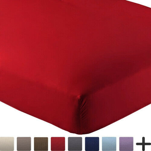 (King, Red) - Bare Home Fitted Bottom Sheet Premium 1800 Ultra-Soft Wrinkle