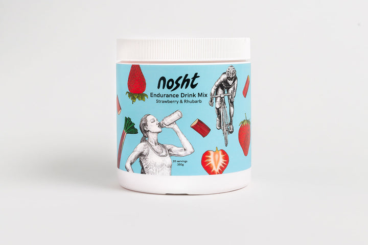 Nosht electrolyte drink mix strawberry and rhubarb