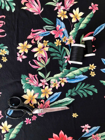 Sew Sew Sew Juliet Viscose Crepe Fabric with scissors and matching black thread