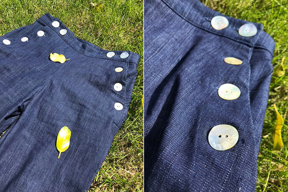 Close up of buttons on Romero Jeans