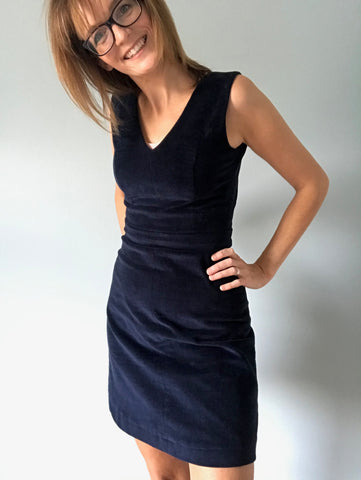 Amanda's Nina Lee Camden Pinafore in Navy Corduroy