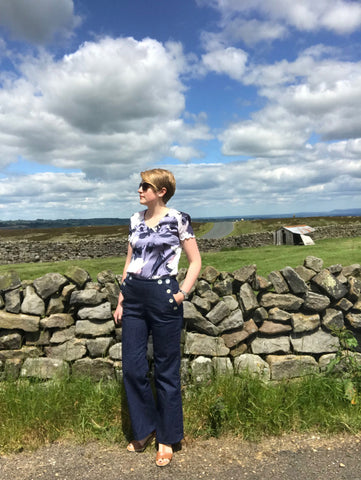 Samantha wearing her Romero Jeans in the Yorkshire Dales
