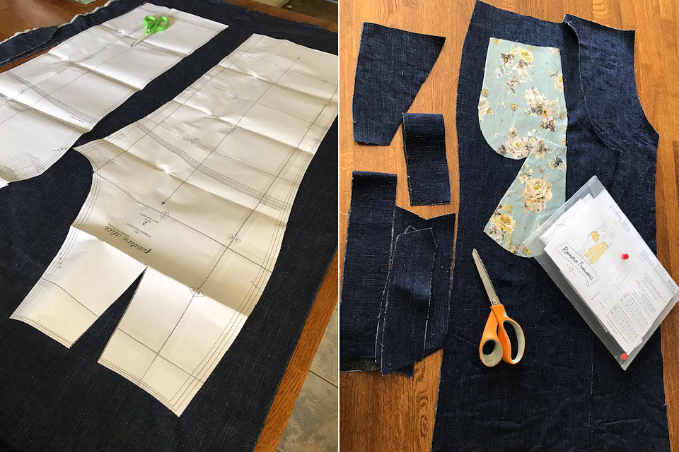 Romero Trousers pattern pieces laid on denim fabric and cut out