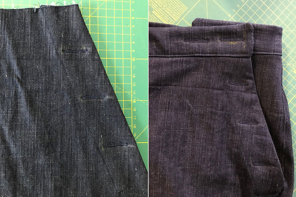 Buttonhole placement on Romero Trousers