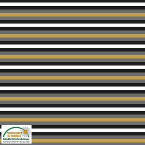 Mustard, Grey, White and Black Striped Cotton Jersey by Stof Fabrics - 25cm