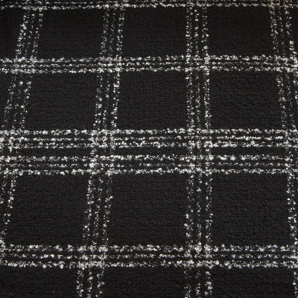 Black and White Check Wool Boucle