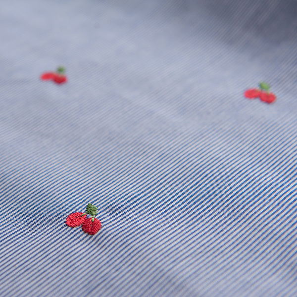 Blue and White Striped Cotton With Embroidered Cherries - 1.4m Piece