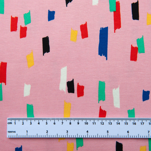 Brushstrokes Cotton Jersey in Pink Dressmaking Fabric