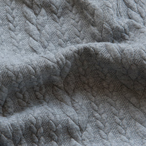 Cable Knit Jacquard Jersey - Grey - 2.3m piece