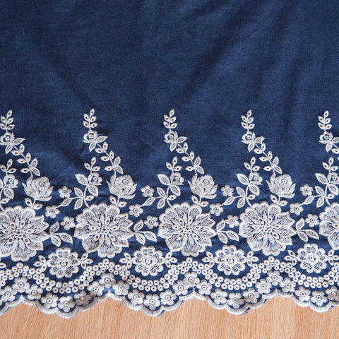 Chambray with Embroidered Border