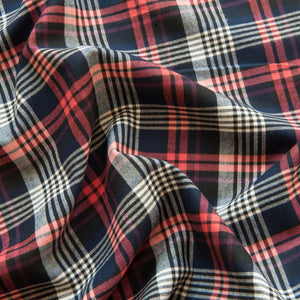 Checked Brushed Cotton in Navy and Red