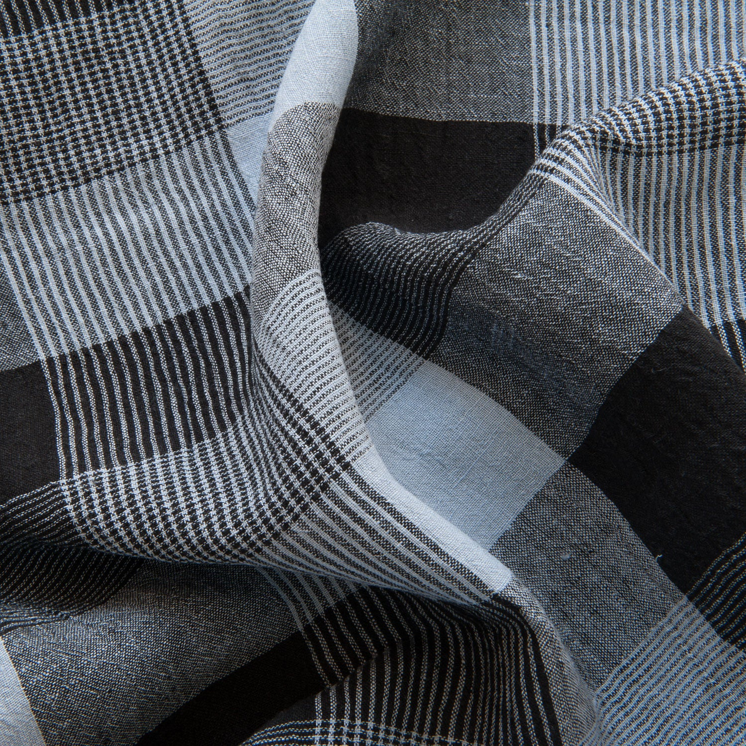 Checked Linen in Blue and Black