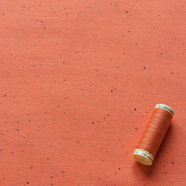 Cosy Colours Flecked Sweatshirt Fabric in Coral