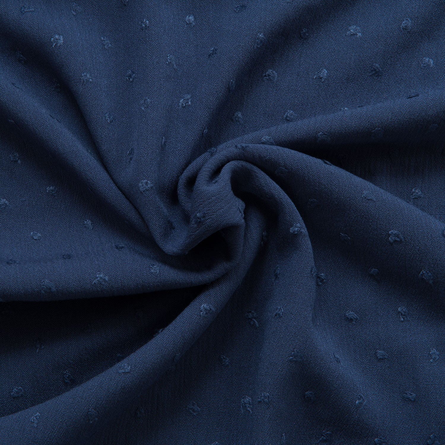 Swiss Dot Crinkle Viscose in French Navy