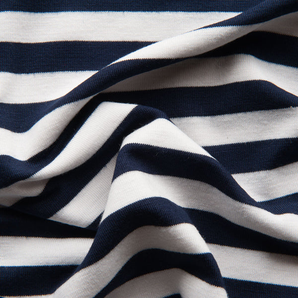 Navy and White Striped Viscose Jersey
