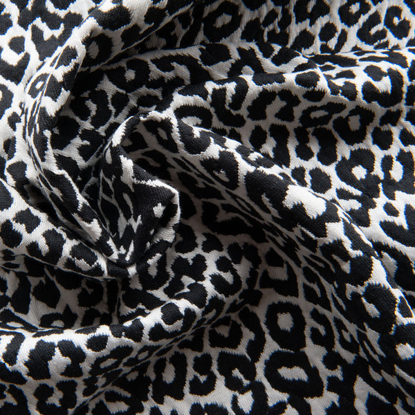 Black and White Leopard Jacquard Knit