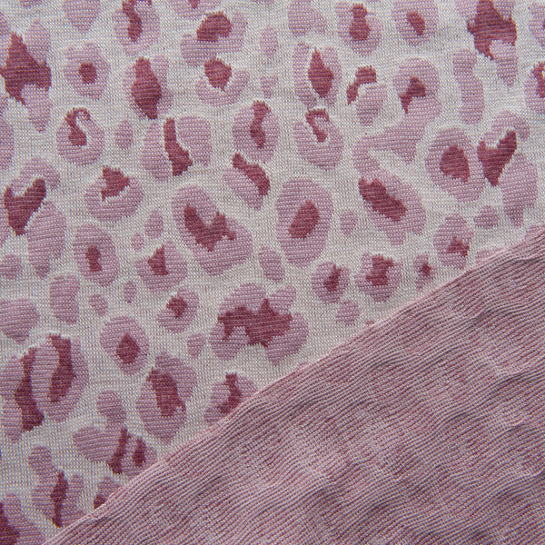Rose Pink Leopard Jacquard Cotton Knit