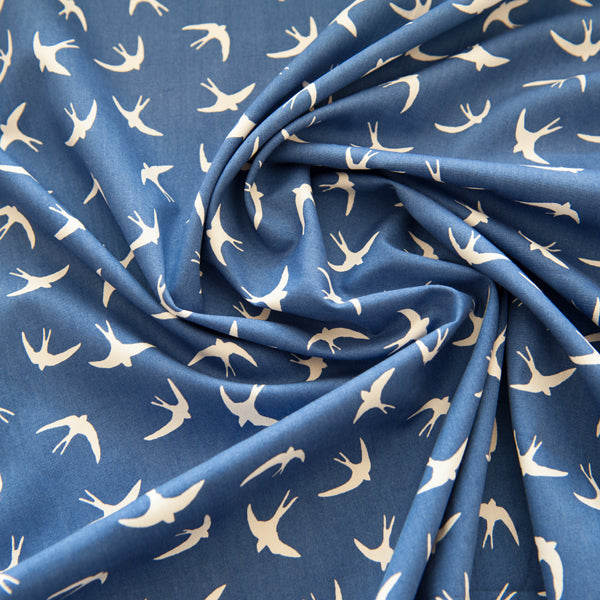 Swallows Bird Fabric 100% Cotton Poplin by Rose & Hubble - Royal Blue & White