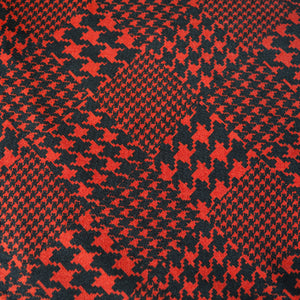 Red and Black Dogtooth Patterned Jersey Dressmaking Fabric