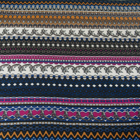Striped Patterned Jersey Dressmaking Fabric - Pink, Mustard, Blue, White & Black