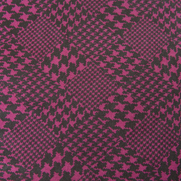 Purple and Black Dogtooth Patterned Jersey Dressmaking Fabric