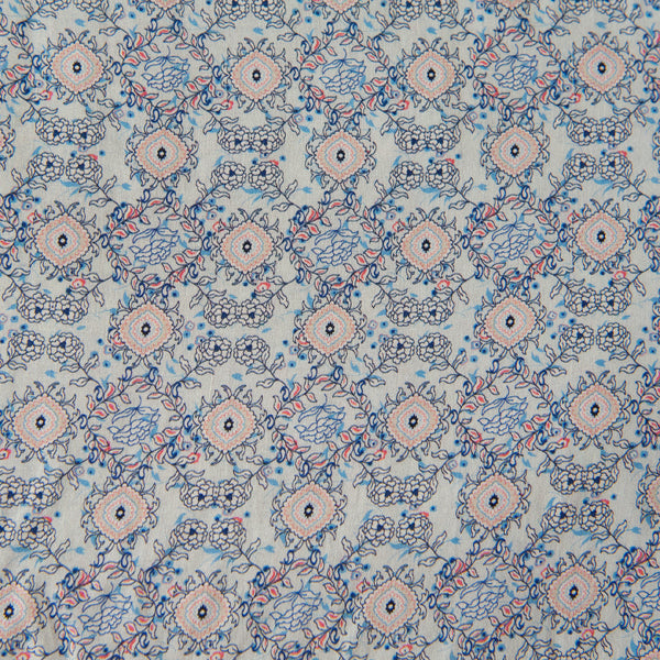 Pale Blue Viscose Dressmaking Fabric With Coral and Blue Pattern