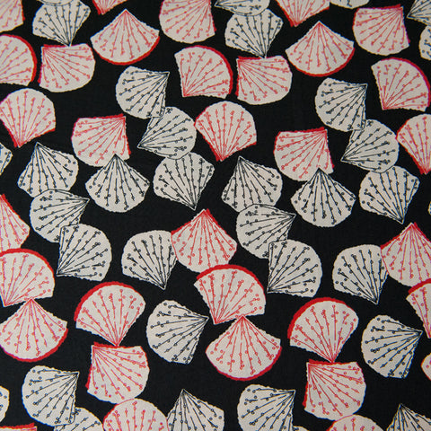 Shells Cotton Lawn Dressmaking Fabric in Black, Red and Cream