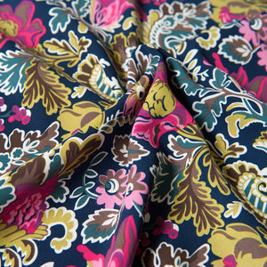 Navy With Pink, Mustard And Green Patterned Polyester Dressmaking Fabric