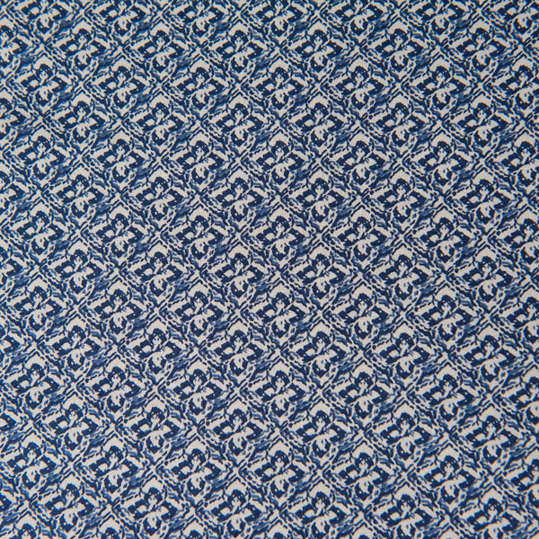 Denim Blue And Cream Cotton Lawn Dressmaking Fabric