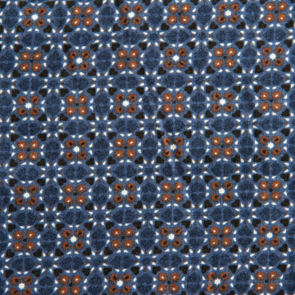 Mosaic Viscose In Navy, White And Brown - 85cm Piece