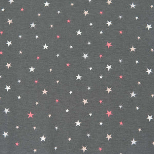 Coral, Peach and White Stars on Grey Cotton Jersey