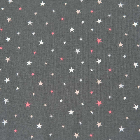 Coral, Peach and White Stars on Grey Cotton Jersey by Stof Fabrics - 30cm Piece