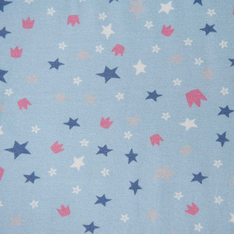 Light Blue Stars and Crown Cotton Jersey by Stof Fabrics