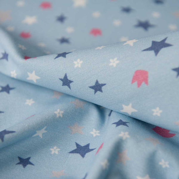 Light Blue Stars and Crown Cotton Jersey