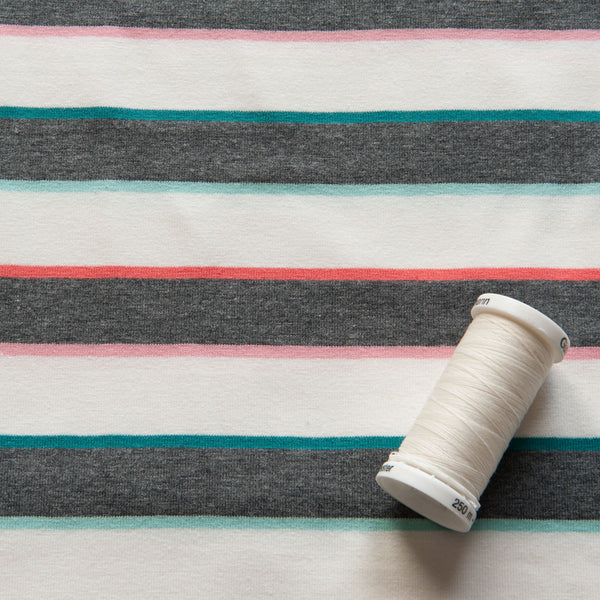 Dark Grey, Ivory, Teal, Mint, Coral and Pink Striped Cotton Jersey