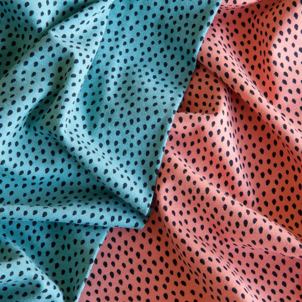 Dots Cotton Jersey in Teal - 60cm Piece