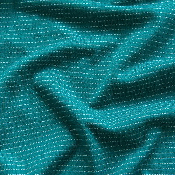 Dotty Stripe Cotton Jersey in Teal