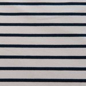 Ecru and Navy Striped French Terry