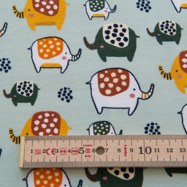 Elephant Sweatshirt Fabric in Light Mint