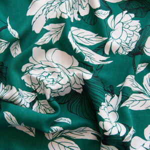 Emerald Floral Viscose Twill