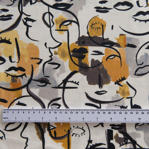 Faces Cotton Jersey by Stof Fabrics