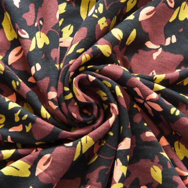 Fantasy Leaves Viscose Jersey in Black
