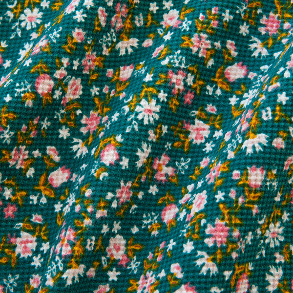 Floral Pique Jersey in Teal